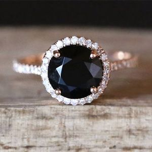 18K Rose Gold Plated Lab Black Sapphire Ring 7
